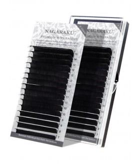 Ресницы черные Nagaraku (Нагараку) МИКС 7-15 мм толщина 0,07